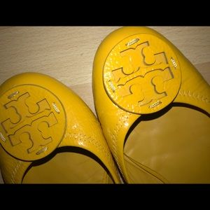 Tory Burch Yellow Patent Leather Reva Flats